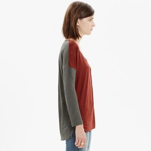 Madewell Scoop Neck Roster Tee in Colorblock Red